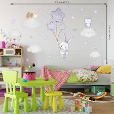 Bunny Wall Decal Girl Bunny Balloon Wall Decal Baby Room Wall Sticker Kidscutedecorations