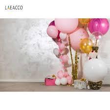 خلفيات عيد ميلاد الطفل Laeacco للتصوير بالونات وردية على شكل كعكة