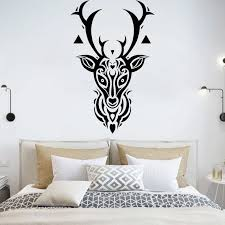 Deer Head Wall Stickers Forest Animal Vinyl Decal Gothic Art Mural Antlers Bedroom Headboard Decoration Living Room Decor O278 Wall Stickers Aliexpress