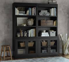 open bookcase with glass door cabinets