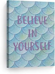 Amazon Com Smile Art Design Believe In Yourself Quote Mermaid Decor Canvas Print Kids Room Decor Wall Art Baby Room Decor Nursery Decor Ready To Hang Handmade In The Usa 12x8 Posters Prints