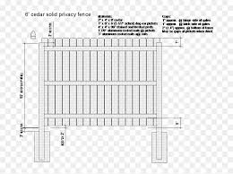 Drawing Of A 6 Foot Privacy Fence Rail Spacing Hd Png Download Vhv