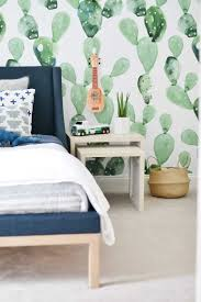 Cactus Removable Wallpaper In A Boys Room In 2020 White Kids Room Girl Bedroom Decor Bedroom Themes