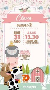 Tarjeta Invitacion Digital Animales De Granja Cumpleanos 160