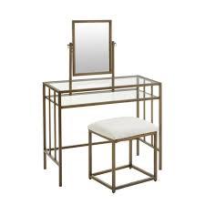 gold metal vanity set with ivory