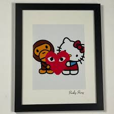 Wall Art Bape Hello Kitty Comme Des Garcons Framed Art Poshmark