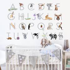 Animal Alphabet Fabric Wall Decals Playroom Decor Tiny Toes Design