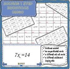solving 1 step equations math bingo no