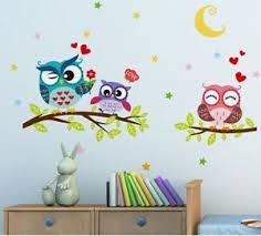 Night Moon Wall Sticker Family Owls Tree Branch Decal Nursery Bedroom Room Decor Ebay