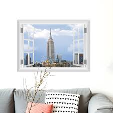Empire State Building Wall Sticker Landscape Removable Wallpaper 3d Window View Wall Decal Stickers Living Room Home Decor Home Decor Removable Wallpaper3d Window Aliexpress