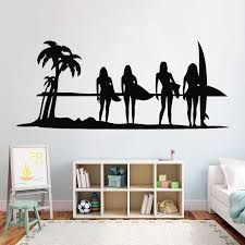 Surfing Girl Surf Vinyl Wall Decals For Girls Room Surfer Wall Stickers Sports Decal Surfboard Bedroom Decoration Murals G719 Wall Stickers Aliexpress