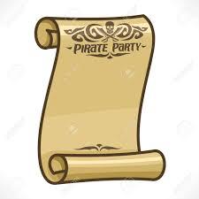 Imagen Del Vector Del Pergamino Del Pergamino Para El Tema De La Fiesta Del Pirata Craneo Y Espadas Cruzadas En Encabezado Texto Del Titulo De La Inscripcion Partido De Los Piratas