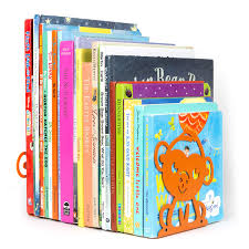 Wallniture Bookends Nursery And Kids Room Book Holder Organizer Animal Themed Floating Shelf Nonskid Metal Orange Set Of 4 Bookends