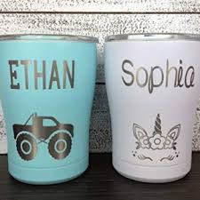 Yeti Cup Lids Laser Engraved Personalized 12 Oz Stainless Steel Kids Tumbler Lid With Slide Closure Vacuum Insulated Tumbler For Boys Unicorn Ballet Truck Dinosaur Custom Plastic Cup