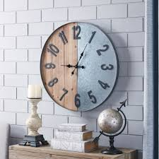 wood metal industrial wall clock indoor