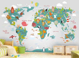 World Map Wall Mural In Teal And Light Gray Children Map With Etsy Map Wall Mural Kid Room Decor World Map Wall