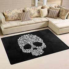 skulls day of the dead area rug pad
