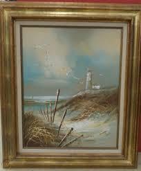 Tamayo Signed Oil Painting Canvas Seascape Sand Dunes Lighthouse Framed Fence 1869117292