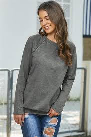 Abby - Gray Side Zip Pullover – Drifter Chic Boutique