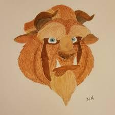 beast disney watercolour painting