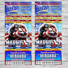 Gratis Capitan America Invitacion Para Imprimir Estilo Ticket