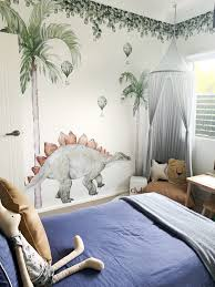 Little Rae Prints How Stunning Is This Room This Gorgeous Customer Room Features Green Leaf Jungle Foliage Wall Decals Large Stegosaurus Wall Decal Palm Tree Large Medium Wall Decals