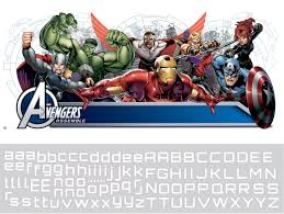 Rmk2240gm Avengers Assemble Headboard Wall Stickers With Personalised Name
