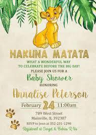 Lion King Baby Shower Invitation Lion King Gold Jungle Boy