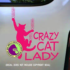 Crazy Cat Lady Cat Clawing Vinyl Decal Bumper Sticker Window Car Lapto Funstyling Com