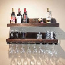wood wine rack shelf hanging stemware