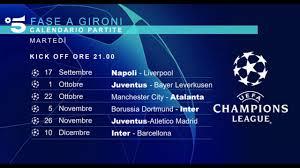 CALENDARIO PARTITE MEDIASET UEFA CHAMPIONS LEAGUE 2019/2020 - YouTube