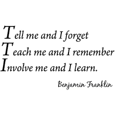 Tell Me And I Forget Teach Me And I Remember Involve Me And I Learn Benjamin Franklin Vinyl Wall Art Home Decor Quote Wall Decals Wall Decor Stickers Amazon Com