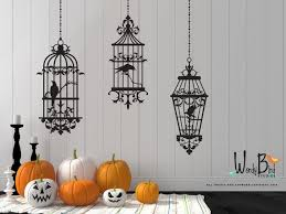 Gothic Style Birdcages With Ravens Halloween Wall Decals Etsy