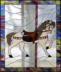 carousel horse 3 stained glass window
