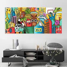 Horizontal Pop Art Wall Art For Kid Room Decor Surfer Art Etsy In 2020 Colorful Wall Art Canvas Graffiti Style Art Big Wall Art