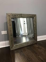 dark wood frame mirror rustic wood