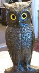 antique cast iron owl andirons with