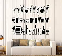 Amazon Com Wallstickers4ever Large Vinyl Wall Decal Alcohol Bar Drink Party Lounge Restaurant Stickers Large Decor Ig4417 Black Home Kitchen