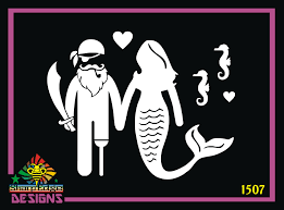 Pirate And Mermaid Couple With Seahorses Vinyl Decal