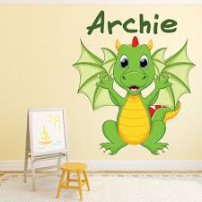 Custom Name Baby Dragon Wall Decal Sticker Personalised Kids Room Decal Ws 50959 Ebay