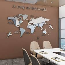 Amazon Com Acrylic 3d Wall Stickers World Map Wall Decal For Office Decoration Silver Large Kitchen Dining