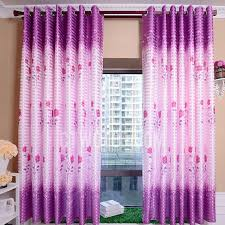 Rose Pattern In Purple Color Of Polyester Fabric Bay Window Curtain For Girls Room