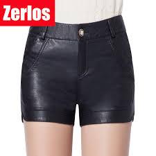 pu leather shorts women s slim