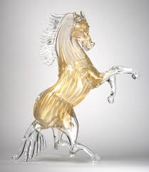 murano glass golden horse murano
