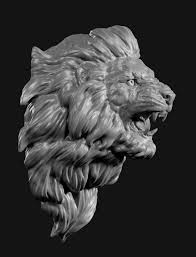 Lion head face 3D Model in Cat 3DExport