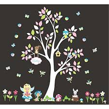 Baby Girls Nursery Decal Wall Decals Nursery Forest And Fantasy Decals Girls Themed Nursery Decor Repositionable Decals White Tree Nature Wall Stickers Kids Room Decoration Kids Stuff Walmart Com Walmart Com