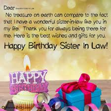 Happy Birthday Beautiful Sister In Law Image Of Cake Card Wishes