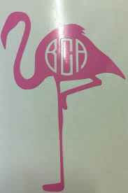 Flamingo Monogrammed Decal Girls Round Here