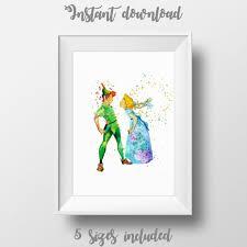 Peter Pan und Wendy Art Disney Aquarell Druck Hochzeit | Etsy
