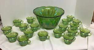 vintage green indiana glass iridescent